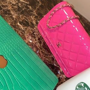 New Chanel Hot Pink Wallet On Chain WOC Bag Purse